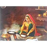 "Village Lady Making Chapattis Indian Poster/ Art Of India : Reprint On Paper (Unframed : Size -14""X 18"" Inches)"
