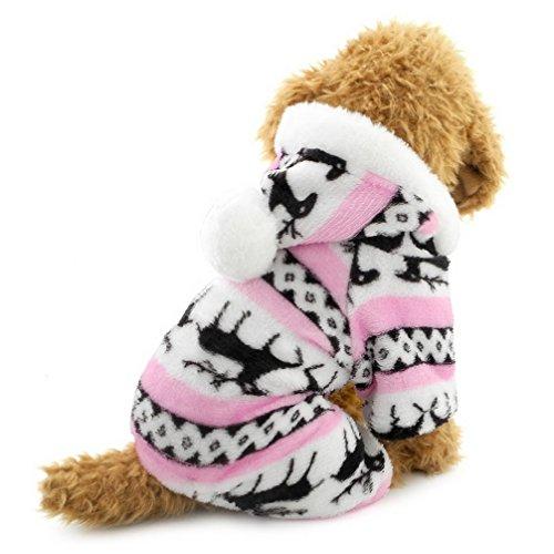 Ranphy-Hunde/Katzen-Kleidung/Kapuzenpulli für kleine Hunde - für Männchen und Weibchen - Weiches Samt - Rentier-Muster - Hunde-Schlafanzug/Jumpsuit für Welpen -