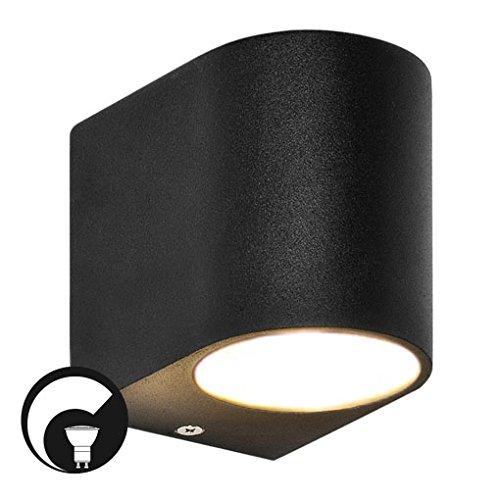 LED Wandleuchte / Wandlampe / Außenleuchte / Up Down / 1-Flammig / Aluminium / Schwarz / Form:E / IP44 / GU10-230V (DIMMBAR / Warmweiß)