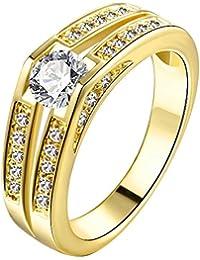Kingwin Circonita Anillos de Compromiso para Mujer Chapado En Oro