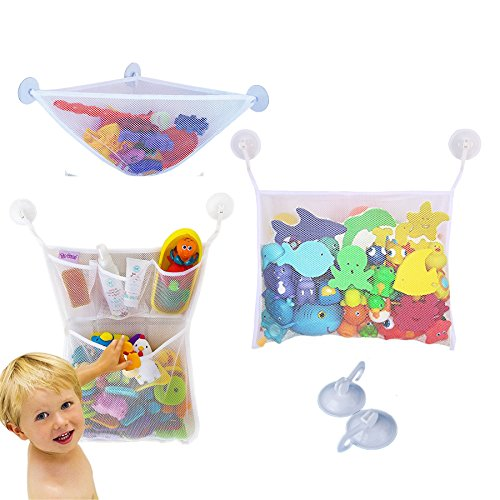 Yizish 3 x Bad Spielzeug Organizer, Baby Bad Toys Aufbewahrungstasche Ecke Net Badewannen Aufbewahrung mit 6 Saugnäpfe für Kinder, Babys (Bad Spielzeug Organizer)