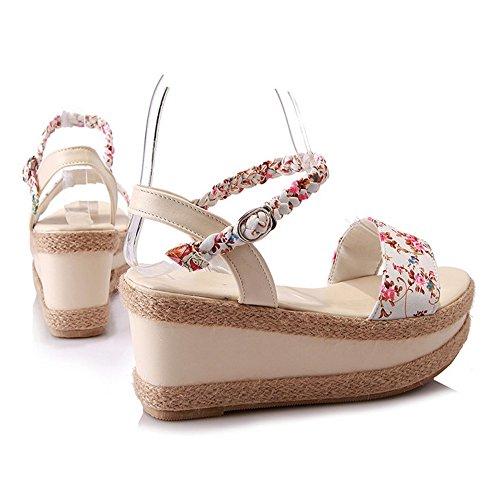 COOLCEPT Femmes Mode Cheville Sandales Orteil ouvert Compenses Chaussures 1465Beige
