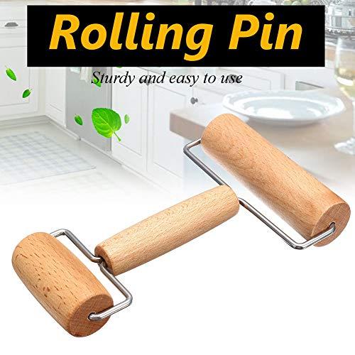 Holz Gebäck-/Pizza-Roller, Gebäck und Pizza-Roller, Teigroller, Teigroller zum Backen & Kochen, Antihaftbeschichtung, leicht zu handhaben, geeignet für kleinere Hände 17.5x12.5x3.8 cm Wie abgebildet