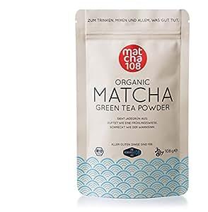 Matcha 108 - Thé matcha de qualité premium / Thé vert issu de l'agriculture biologique contrôlée - 108g de - Ceremonial Grade - Thé vert en poudre 100 % bio