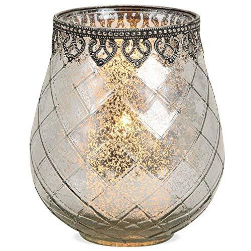 matches21 Windlicht Teelichtglas Kerzenglas Orientalisch Silber antik Glas/Metall Vintage - 3...