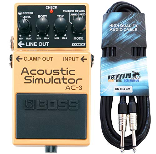 Boss AC-3 Acoustic Simulator Effektgerät + keepdrum Gitarrenkabel 3m