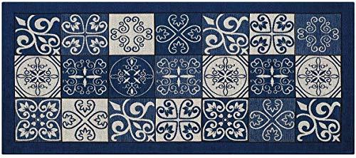 Homelife tappeto cucina antimacchia e antiscivolo 55x140 made in italy   passatoia moderna con disegno maiolica lavabile   tappeto runner lungo colorato [55x140, blu]