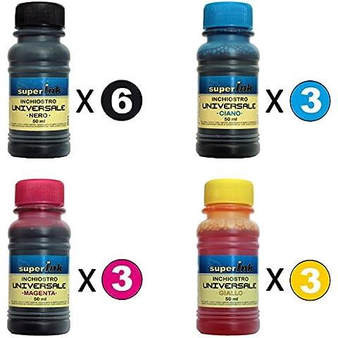 300ml Negro + 3x150ml (Cian-Magenta-Amarillo) * Kit TINTAS superInk UNIVERSAL para cargar las impresoras de inyección de tinta