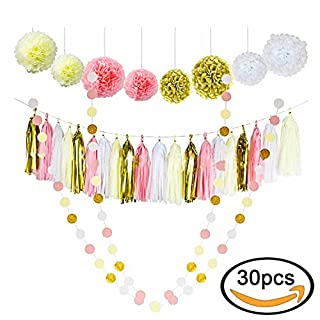 Almondcy 30 Pcs Tissue Paper Pom Poms Flowers Pink White and Gold With Tassel Garland for Birthday Wedding Party Decorations