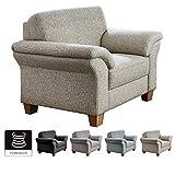 CAVADORE Sessel Byrum mit Federkern / Großer Sessel im Landhausstil / 101 x 87 x 88 / Strukturstoff Beige
