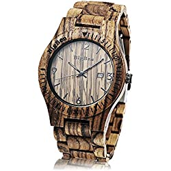 BigBen B01 Mens Wooden Watches Male Quartz Wristwatch with Luminous Date Display Retro Wrist Watch