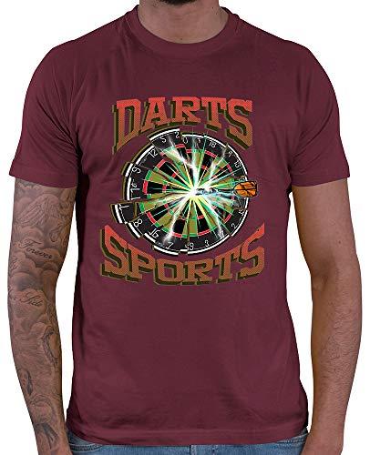 HARIZ  Herren T-Shirt Darts Sports Blitz Scheibe Dart Sprüche Männer Sport Fun Trikot Plus Geschenkkarten Wein Rot 3XL