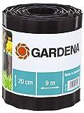 GARDENA Raseneinfassung 20 cm hoch: Ideale Rasen-Abgrenzung, auch für Beete, 9 m, verhindert Wurzelausbreitung, aus Kunststoff, braun (534-20)