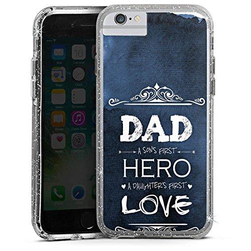 Apple iPhone 6 Bumper Hülle Bumper Case Glitzer Hülle Vater Vatertag Papa Bumper Case Glitzer silber