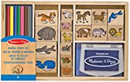 Melissa & Doug trästämpel set: Djur - 16 frimärken, 7 färgade blyertspennor, stämpel