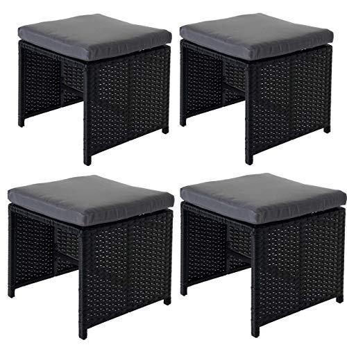 Mendler 4X Poly-Rattan Hocker Kreta, Sitzhocker Lounge-Set, 36x40cm schwarz Kissen grau