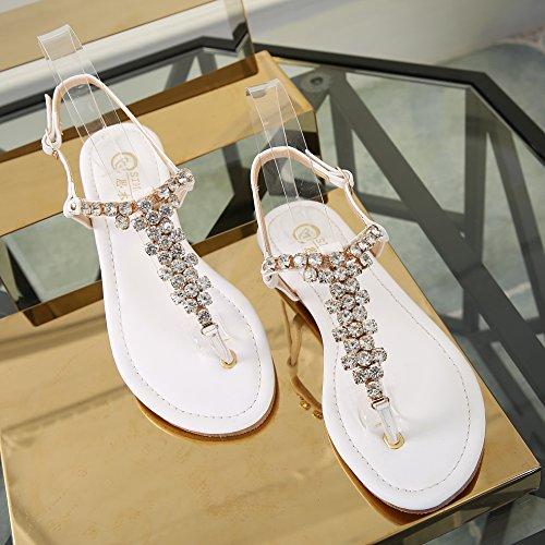 SUNAVY Damen Bling Strass Slingback Römersandalen Flip-Flops Sommer Strand Schuhe (EU33 - EU39) Weiß 1