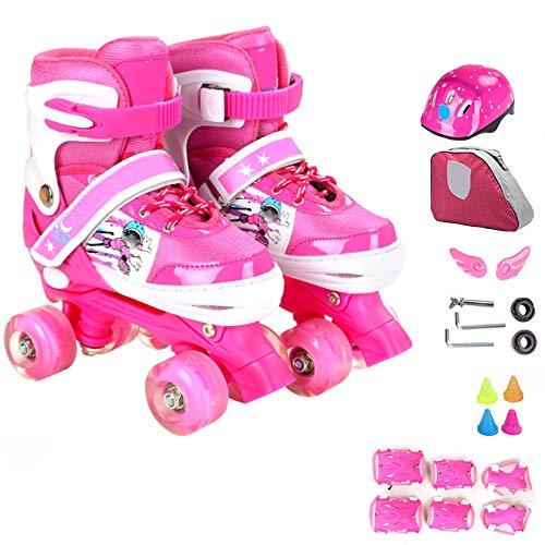 ZCRFY Inline-Skates Einstellbare Rollschuhe Quad Kids Doppelte Reihe 4 Räder Rollerblades Für Anfänger Kleinkinder Kinder Jungen Mädchen Schlittschuh Geburtstagsgeschenk,Pink-Set1-S(26-32) Code