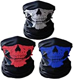 Ritche Black Breathable Seamless Tube Skull Face shield Ski Mask,3 Piece Motorcycle Face Mask,Colorful