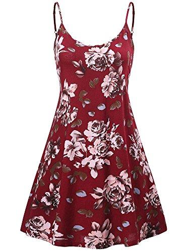 MSBASIC àrmelloses, verstellbares Riemchensommer Strand Swing Kleid für Damen 17147-9, Peony, L -ausschnitt A-linie Kurz