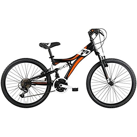 Bicicleta Mountain Bike para niños MBM Indy, cuadro de acero, doble suspensión, 6 o 18 velocidades, 3 tamaños (Matt Black, 26