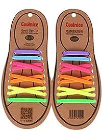 Joyshare sin corbata Cordones de zapatos para niños y adultos Impermeables cordones de zapatos de atletismo atlética de silicona elástico plano con multicolor de los zapatos del tablero Sneaker boots (Mix Color)