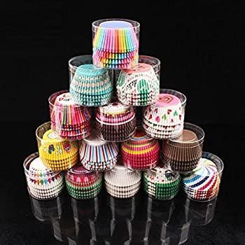 400 Pieces Rainbow Muffin Cases 5 x 3.5CM Cupcake Wrappers for Kitchen Ba