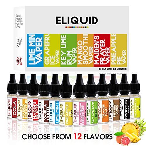 WOSTOO E Liquids, 12 X 10mL Verschiedene E-Liquid für E-Zigarette ohne Nikotin VG50{83ca673c62f17a5d550645ccbdef4a56e4d812ba43d12f20fe03e965442d3bd4}/PG50{83ca673c62f17a5d550645ccbdef4a56e4d812ba43d12f20fe03e965442d3bd4}, E-Shisha Elektrische Zigarette,E Liquids für E Zigaretten/Elektrische Zigarette/E Shisha