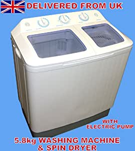 LARGE 5.8KG PORTABLE TWIN TUB WASHING MACHINE AND SPIN DRYER WITH ELECTRIC DRAINAGE PUMP