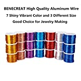BENECREAT 12 17 18 Gauge Aluminum Wire Anodized Jewelry Craft Making Beading Floral Colored Aluminum Craft Wire