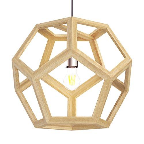 Tomons Lámpara de techo de madera de diseño hueco, forma de geometría, E26 / E27, bombilla incandescente de 60 vatios, bombilla de 12 vatios LED para sala de estar, dormitorio, sala de estudio-PL1002
