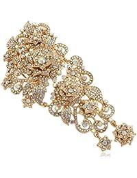 Ever Faith Austriacos Cristal Boda Vintage Retro estilo de cinco flores elegante novia pelo peine