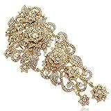 EVER FAITH® österreichischen Kristall Blume Muster Hochzeit Haarkamm Haarschmuck Gold-Ton A06961-4
