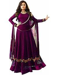 AnK Women's Purple Georgette Embroidered Anarkali Semi Stitched Salwar Suit