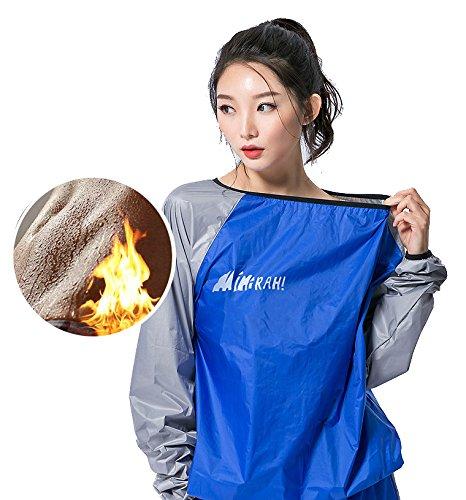 MINIRAH! Saunaanzug Gewichtsverlust Boxen Anti-Rip Gym Fitness Workout Fat Burner Schweißanzug für Männer und Frauen, blau, XXX-Large