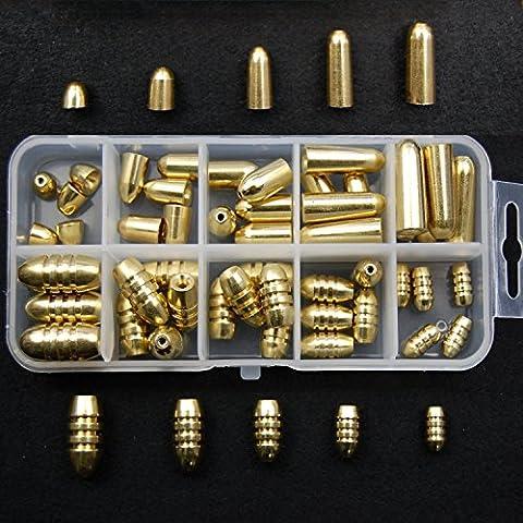JSHANMEI®50 PCS/boîte Kit de Plomb Pêche Balle/Spirale Poids de Pêche Lest Pêche Bombées Percées Bullet Weights/Drop Shot Weights Fishing Sinker 2 Type Mixte
