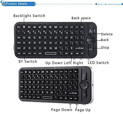 Mini Wireless Bluetooth QWERTY Tastatur mit Hintergrundbeleuchtung für iOS System - Ultra-sensitiv-system