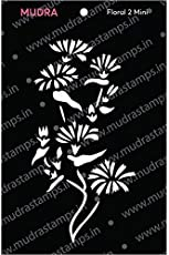 "Mudra Stencils - Floral Mini 2 -""3x4"" - for DIY Home Decors, Crafts & Mixed Media"