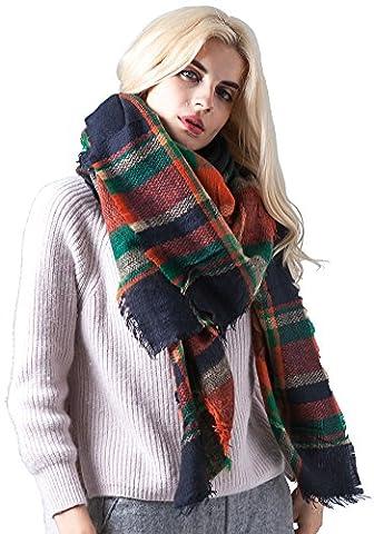 Fashion Unisex Winter Reversible Plaid Print Blanket Scarf Shawl(Green Checked)