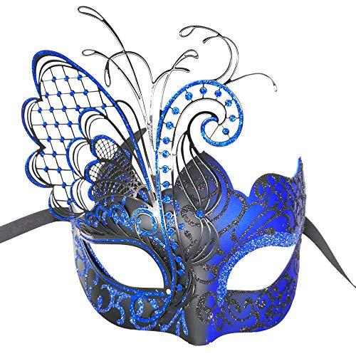 CCUFO [Flying Butterfly] blau / schwarz Gesicht [funkelnden Flügel] Laser Cut Metall venezianischen Frauen Maske Maskerade / Party / Ball Prom / Mardi Gras / Hochzeit / Wanddekoration (Mardi Gras Zeichnen Maske)