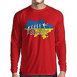 lepni.me Langarm Herren t Shirts Evolution Fußball - Ukraine, Meisterschaft, Weltmeisterschaft Fußball Team (Large Rot Mehrfarben)