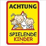 Hinweis-Schild Achtung spielende Kinder I Größe 30 x 40 cm I Straßen-Warnschild Spielstraße Spielplatz I Vorsicht Kids langsam fahren I hin_404