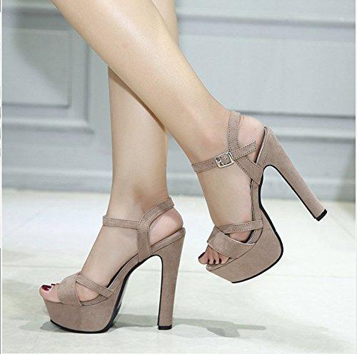 Xing Lin Chaussures DÉté Pour Les Femmes La Nouvelle Boucle Mot Rough Avec Open Toe Sandales DÉté Princesse Coréenne Chaussures À Talons Hauts Imperméable apricot