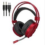 VersionTech Casque Audio de 3.5mm Casque Stéréo avec Micro Casque filaire avec LED pour PC, Ordinateur Portable – Rouge