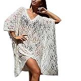 ZEZKTDamen Lochmuster Tunika Chiffon Bikini Cover Up Sommer Bluse Spitze V-Ausschnitt Kimono Ärmellos Chemise Pyjamas Kleid Transparente Lang Spitze Sommer Dessous kleid (L, Weiß)