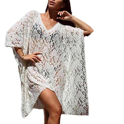 ZEZKTDamen-Lochmuster-Tunika-Chiffon-Bikini-Cover-Up-Sommer-Bluse-Spitze-V-Ausschnitt-Kimono-rmellos-Chemise-Pyjamas-Kleid-Transparente-Lang-Spitze-Sommer-Dessous-kleid
