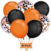 Gxhong Balloons Orange Black, 12 Inch Assorted Halloween Balloons, Halloween Decoration Confetti Balloons Colorful Balloons Halloween Party Balloons Helium Latex Balloons (80 Pieces)