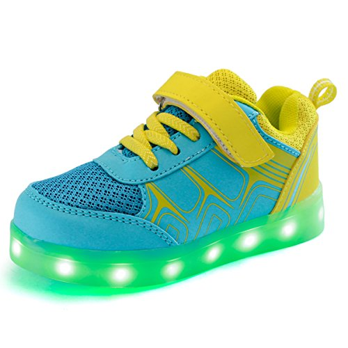 DoGeek Enfant LED Chaussure 7 couleurs Baskets Lumineuse Filles Gar?on Chargeur USB Chaussure Lumineuse Jaune