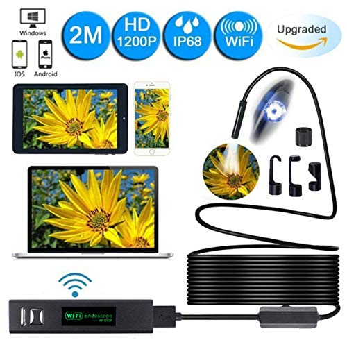 Preisvergleich Produktbild MASO Wireless Endoscope Camera WiFi Inspektionskamera 2M Wireless Endoscope 1200P HD Endoskop 8mm Objektiv IP68 wasserdicht mit 8 LED-Licht für iPhone,  Android,  PC,  iPad