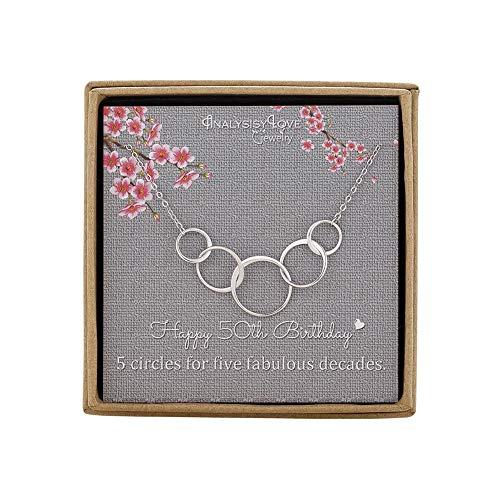 Halskette zum 50. Geburtstag für Frauen - Sterling Silber Infinity 5 Kreise 5 Jahrzehnte Halskette Muttertag Schmuck